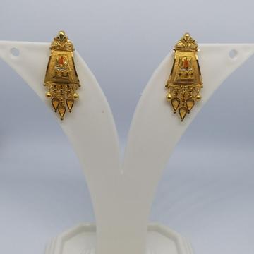 22 kt 916 gold plain earrings by Zaverat
