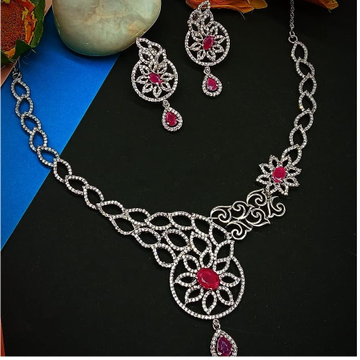 silver classical ladies necklace set rH-NS928