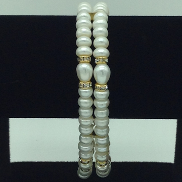White Flat Pearls And CZChakri 2 Layers Bracelet JBG0095