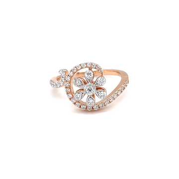Designer floral diamond ring in pave setting and m...