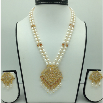 White,ChampagneCZ Pendent Set With Oval Mala JPS0602