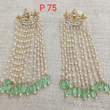 Designer Long Earrings With Green Beads