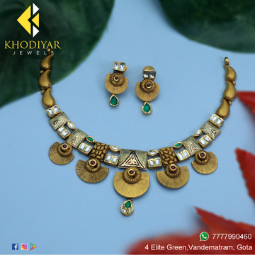 916 Gold Antique Necklace Set For Wedding KJ-N006
