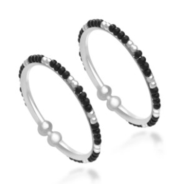 Silver 925 sterling silver black and silver beads kids bangles  rj-s9b03