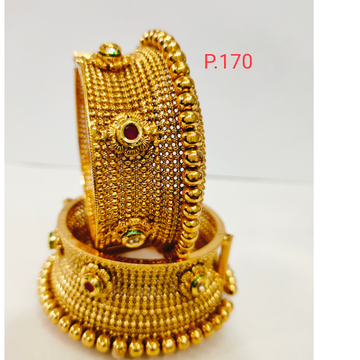 Antique plated ethnic work and gold polish kada with red stone & screw openable  1199