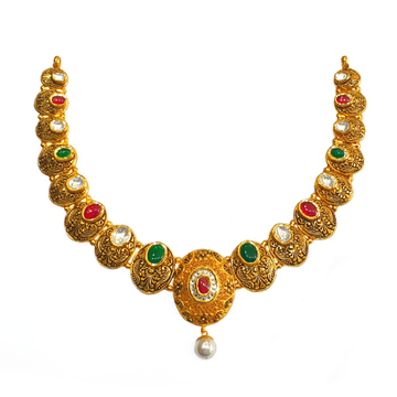 22k gold antique round shaped designer necklace set mga - gn0088