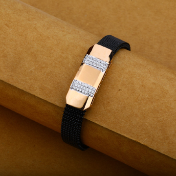 Black Leather Spring Belt Mens 18K Rose Gold Bracelet-MLB10