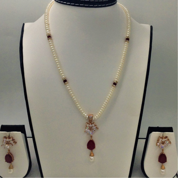 White ,red cz and pearls pendent set with flat pea...