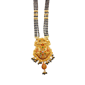 22k Gold Kalkatti 3 Line Black Beads Mangalsutra MGA - GM024