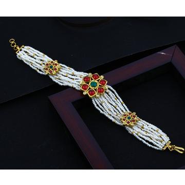 916 Gold Mani Moti Flower Design bracelet