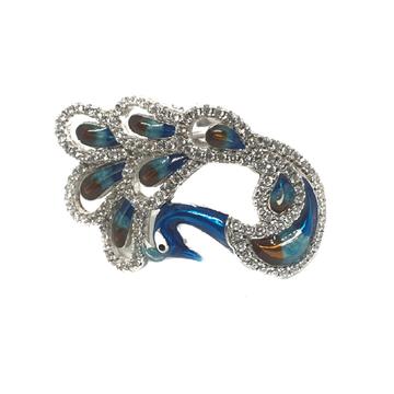 925 Sterling Silver Meenakari Peacock Shaped Ring MGA - LRS0337