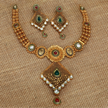 916 Gold Antique Bridal Necklace Set PJ-N005