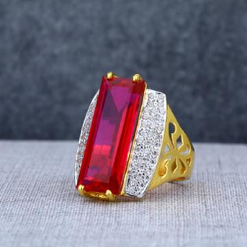Mens Fancy 916 Red Single Stone Gold Ring-MSR01