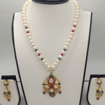 Multicolour CZ And Pearls Fusion PendentSet With 1Line FlatPearls Mala JPS0289