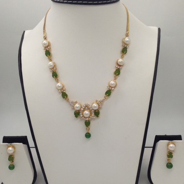 Freshwater White Button Pearls And Green Jade Leaves Necklace Set JNC0014
