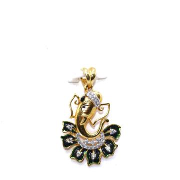 22KT / 916 Gold Green Minakari Ganeshji Pendant Fo... by