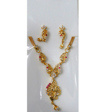 22kt Gold Cz Casting Short Necklace Set