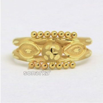 22ct 916 Yellow Gold Ladies Ring Indian Frosted Design Bands