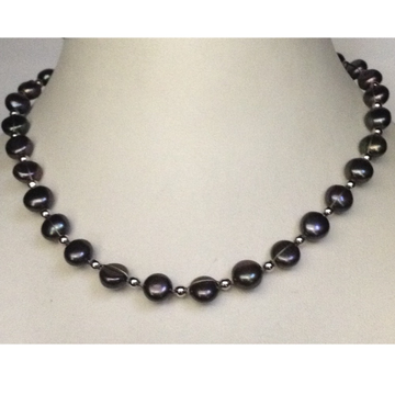 Freshwater Black Button Pearls Wire Mala with white Jaco balls