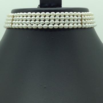 Freshwater White OvalPearls 4Layers Choker JPM0362