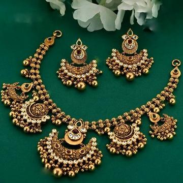 22KT/ 916 Gold antique bridle Jadtar Half Necklace... by