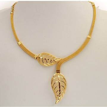 22kt, 916 hall-marked, yellow gold Birch leaf joining design necklace jkn017