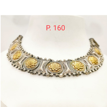 Oxidised silver combination with Gold plated flower Design choker set 1655