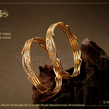 916 Gold Party Wear Bangle  by Saideep Jewels