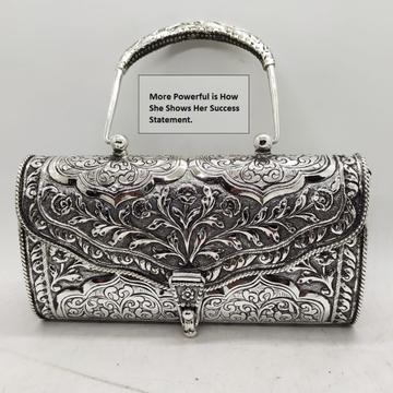 Puran pure hallmarked silver purse handbags in flo...