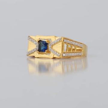 22kt/916 yellow gold nelson blue safire for men