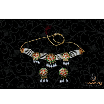 Attractive necklace set with colorful Mina & glass... by Swanky Jewellery