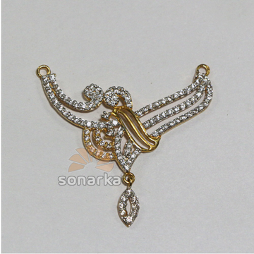 Fancy Gold Mangalsutra Pendents 22k with American Diamond