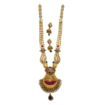 22k Gold Antique Rajwadi Necklace With Earrings MGA - GLS072
