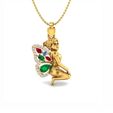 916 gold cz flying angel pendant chain so-p011 by S. O. Gold Private Limited