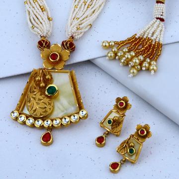 916 cz choker gold Necklace Set