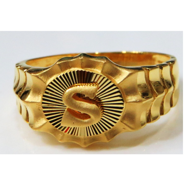 22kt gold plain casting S initial fitting gents ring