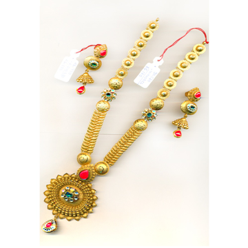 22KT Gold Fancy Red Stone Long-Bridal Necklace Set-23