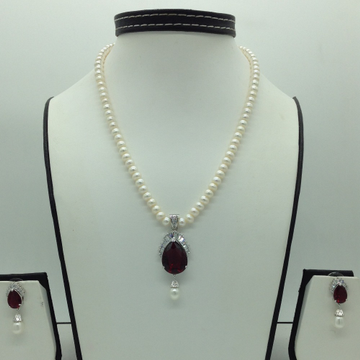 White And Maroon CZ Pendent Set With Flat Pearls M...