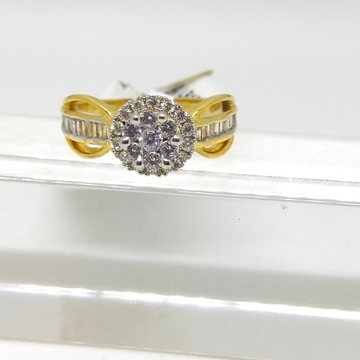 22K double deck studded diamond ring