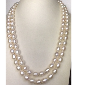 Freshwater White Oval Natural Pearls Necklace 2 Layers
