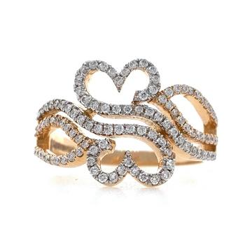 18kt / 750 rose gold dual heart diamond ladies rin...