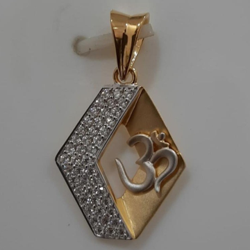 916 gold cz om pendant by