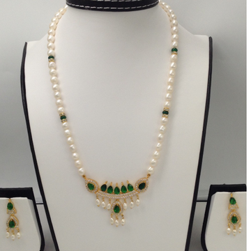 White, GreenCZ And PearlsPendentSet With OvalPearls Mala JPS0088