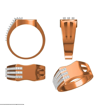 18K Rose gold gents ring with diamond by