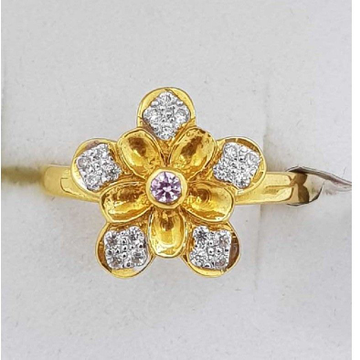 916 Gold flower Design studded Ladies Ring SJ-LR/38