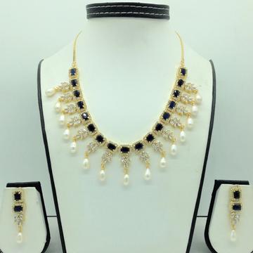 White ,BlackCZ Stones And Tear Drop Pearls Necklace Set JNC0148