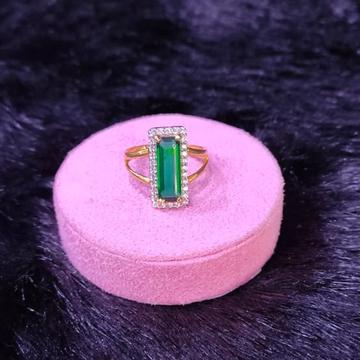 22KT/916 Yellow Gold V  Shape cz Stone Fancy Emerald Stone Ring For Women
