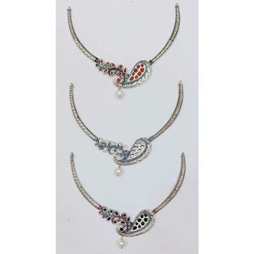 92.5 Sterling Silver Mina Oxodized Pearl Peacock Pis Necklace Ms-2846