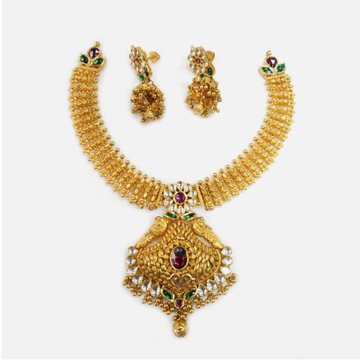 916 Gold Traditional Bridal Necklace Set RHJ-0005
