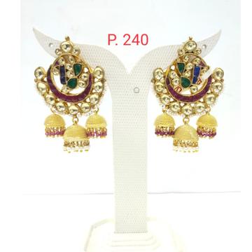 unique style Red & Green stone kundan Design three Jhumka Earring 1544